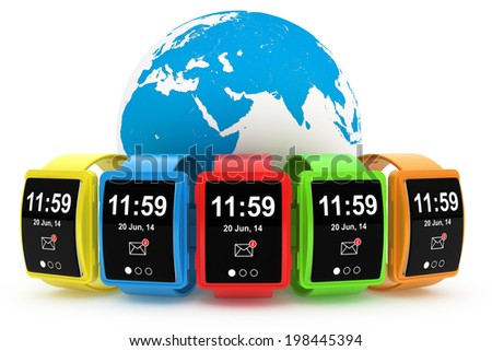 Big conceptual multicolour smart watches with Earth Globe on a white background - stock photo