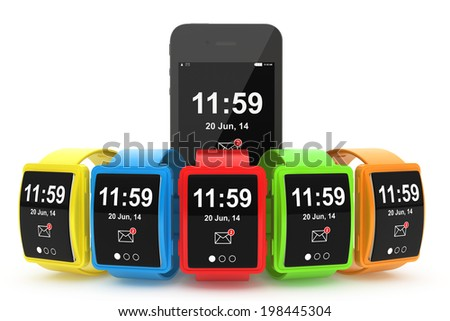 Big conceptual multicolour smart watches with Mobile Phone on a white background - stock photo