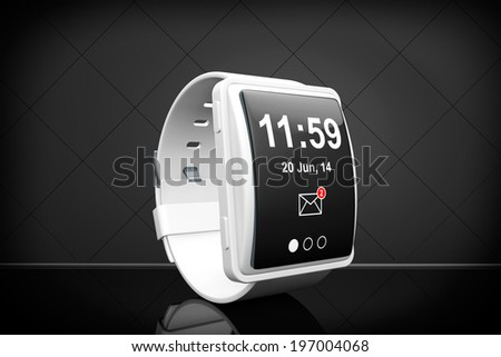 Big conceptual smart watch on a black background - stock photo