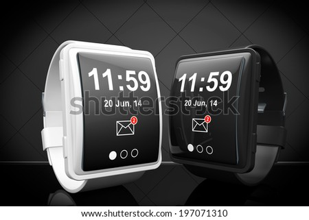 Big conceptual smart watches on a black background - stock photo