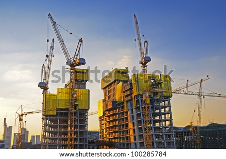 Big construction site A big construction site with cranes - stock photo
