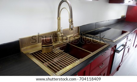 Big Copper Double Sink Drying Rack Stock Photo & Image (Royalty-Free ...
