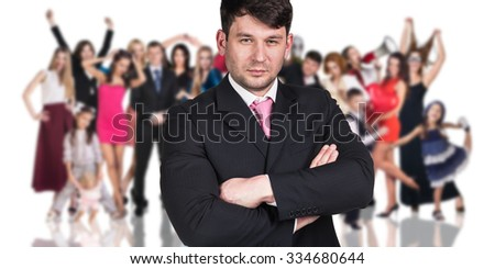 Big crowd of people and young woman foreground. Isolated over white background - stock photo