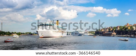 Big cruise ship in Stockholm, Sweden in a summer day