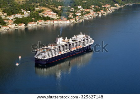 Big Cruiser Ship in The Bay of Kotor - stock photo