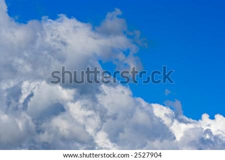 Big cumulus clouds and blue sky - stock photo