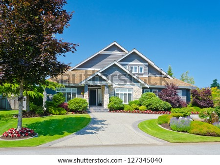 Big custom made  luxury house in the suburbs of Vancouver, Canada. - stock photo