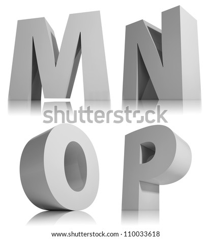 M Alphabet In 3d Big 3d letters isolated on white background font, alphabet letter m, n ...