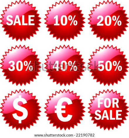 big 3d Set of red price tags - stock photo