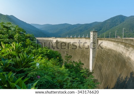 Big dam. Dam in the Mountains, Water barrier dam, Hydro Power Electric Dam.