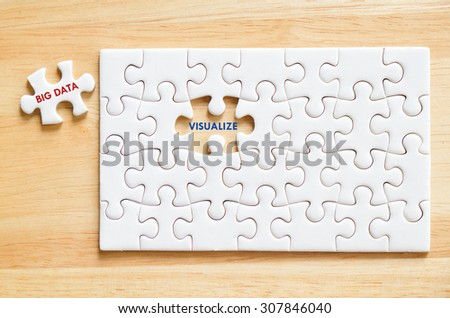 Big data and visualize words on jigsaw puzzle background, big data, technology and business concept - stock photo