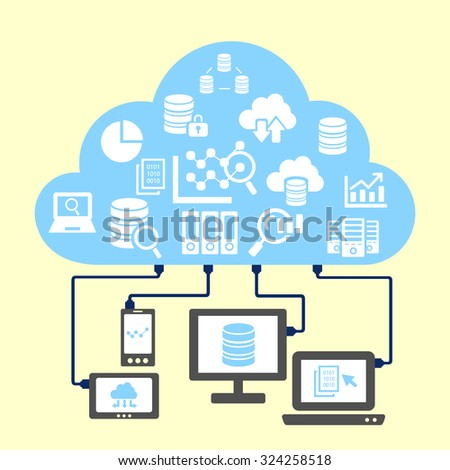 Big Data concept - cloud and big data science icon connect with computer - stock photo