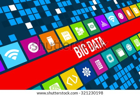 Big Data concept image with technology icons and copyspace - stock photo