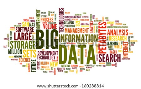 Big data concept in word tag cloud on white background - stock photo