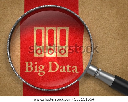 Big Data Concept: Magnifying Glass with Word Big Data and Icon of Servers on Old Paper with Red Vertical Line Background. - stock photo