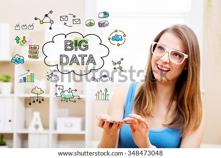 Big Data concept with young woman wearing white glasses using her smartphone in her home  - stock photo