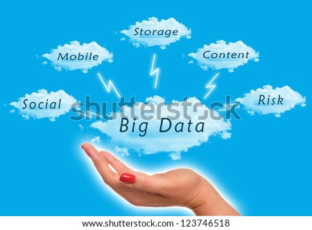 Big Data diagram with woman holding the clouds in the sky - stock photo