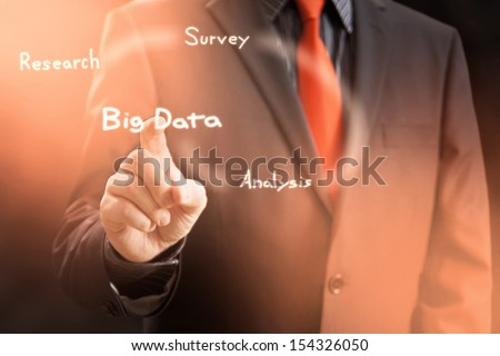 Big Data Gathering Virtual Screen Concept - stock photo