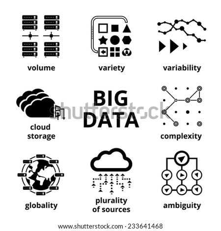 Big data icons. Volume Variety Velocity Variability Complexity - stock photo