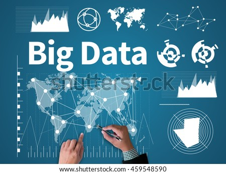 Big Data on Domain Web Page and  SEO businessman work on white broad, top view - stock photo