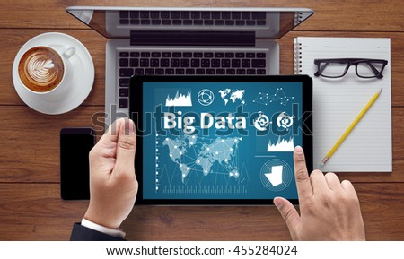 Big Data on Domain Web Page and  SEO businessman work on white broad, top view, on the tablet pc screen held by businessman hands - online, top view - stock photo