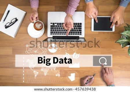 Big Data on Domain Web Page and  SEO man touch bar search and Two Businessman working at office desk and using a digital touch screen tablet and use computer, top view - stock photo