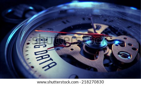 Big Data on Pocket Watch Face with Close View of Watch Mechanism. Time Concept. Vintage Effect. - stock photo