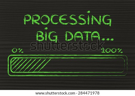 big data processing and storage: progress bar loading content - stock photo