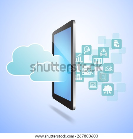 Big Data Science Concept - Touch digital tablet pc with big data science icons - stock photo