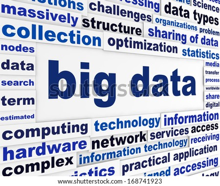 Big data technical poster. Complex analysis technological background