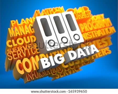 Big Data with Folders Icon - White Color Text on Yellow WordCloud on Blue Background. - stock photo