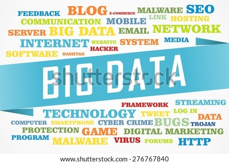 big data word on collage word concept with blue background