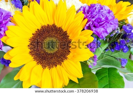 big decorative flower of a sunflower closeup with bright yellow petals in a bouquet with other flowers