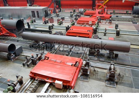 Big-diameter pipes for natural gas - stock photo