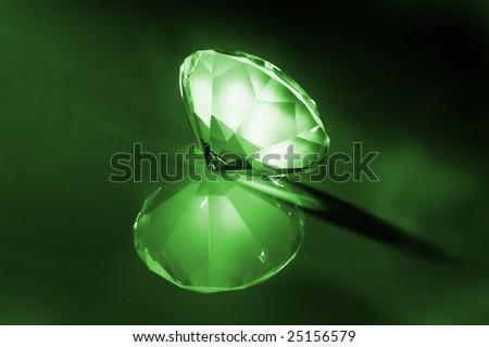 big diamond at green lighting - stock photo