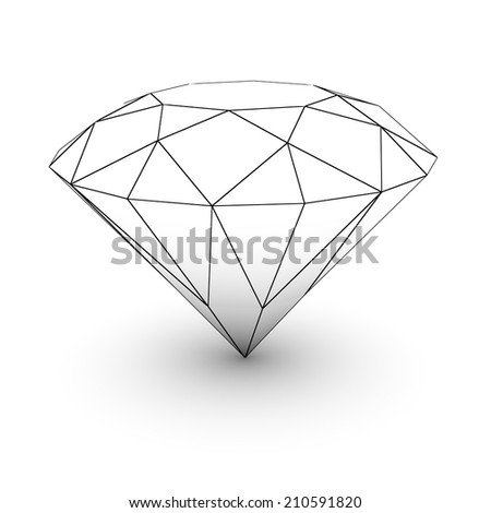 Big diamond on white isolated with clipping path - stock photo