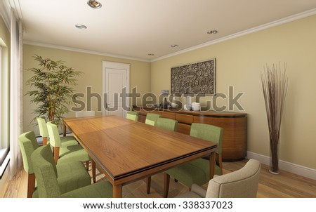 Big Dining Room in Country House 3d Rendering