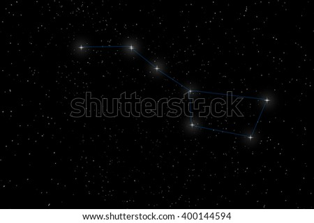 Big Dipper Constellation, Ursa Major, The Great Bear with constellation lines - stock photo
