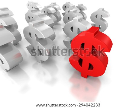 Big Dollar Currency Symbol Forward Leader. 3d Render Illustration
