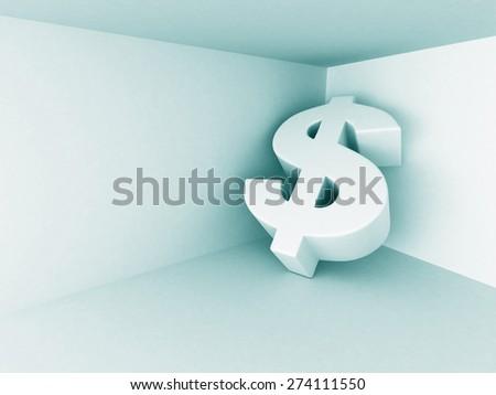 Big Dollar Currency Symbol On Blue Background. Financial Concept 3d Render Illustration - stock photo