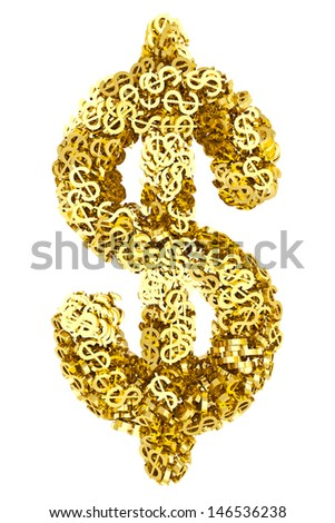 Big dollar sign composed of many golden small dollar signs on white background. High resolution 3d image