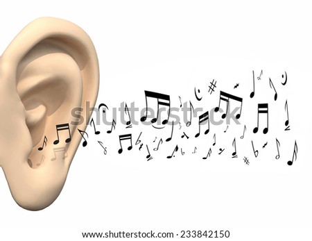 big ear and music notes coming, 3d illustration - stock photo