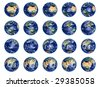 Big Earth Globes collection on white, high res pictures - stock photo