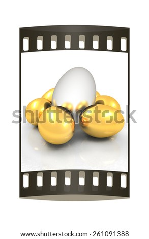 Big egg and gold eggs. The film strip - stock photo