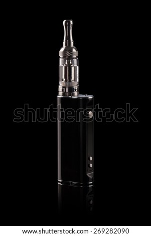 big electronic cigarettes isolated on black - stock photo