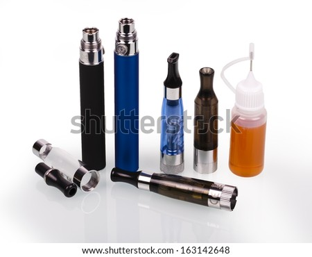 big electronic cigarettes isolated on white  - stock photo