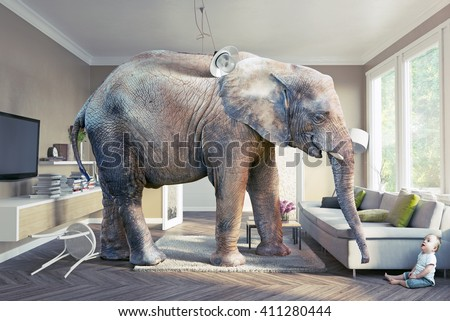 Big elephant and the baby  in the living room. Photo and cg elements combination  concept