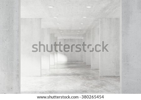 Big empty loft hall with many concrete wall and floor 3D Render - stock photo