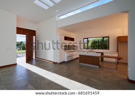 Big Empty Modern House And Kitchen