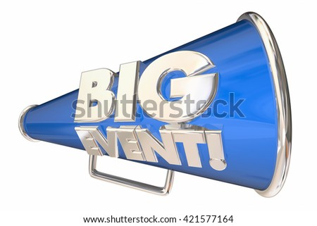 Big Event Party Celebration Bullhorn Megaphone 3d Animation - stock photo